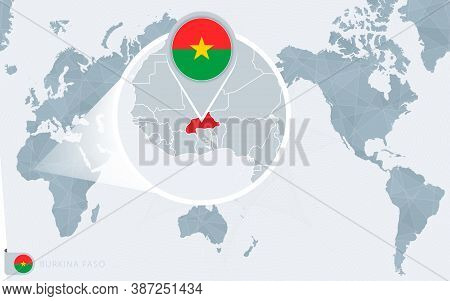 Pacific Centered World Map With Magnified Burkina Faso. Flag And Map Of Burkina Faso On Asia In Cent