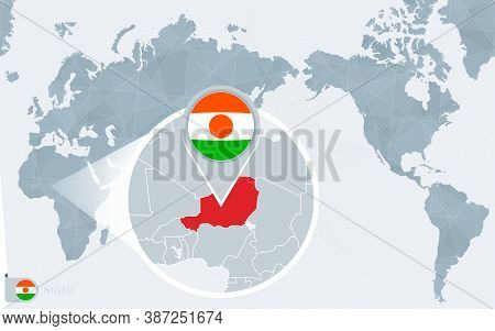 Pacific Centered World Map With Magnified Niger. Flag And Map Of Niger On Asia In Center World Map.