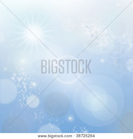 Light Blue Abstract New Year Background With White Snowflakes