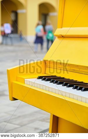 Decorative Musical Piano Stands On The Street.