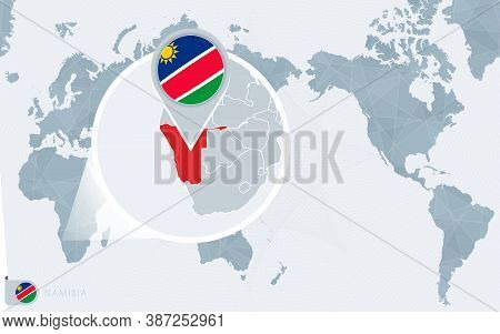 Pacific Centered World Map With Magnified Namibia. Flag And Map Of Namibia On Asia In Center World M