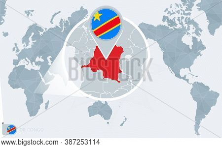 Pacific Centered World Map With Magnified Dr Congo. Flag And Map Of Dr Congo On Asia In Center World