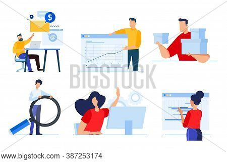 Set Of Business People Concepts. Vector Illustrations Of Data Analytics, Business Presentation, Plan