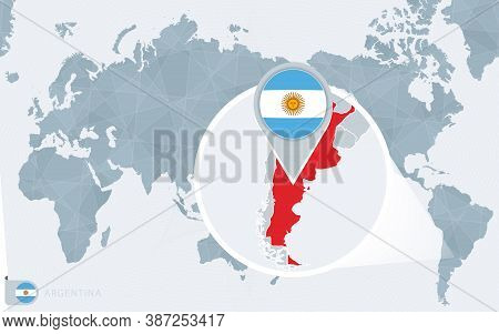 Pacific Centered World Map With Magnified Argentina. Flag And Map Of Argentina On Asia In Center Wor
