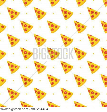 Vector Cartoon Style Pizza Slices And Dots Seamless Pattern Background. Pizza Delivery, Fast Food Pa