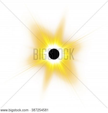 Total Solar Eclipse Vector Illustration On White Background. Full Moon Shadow Sun Eclipse With Coron