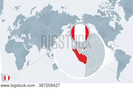 Pacific Centered World Map With Magnified Peru. Flag And Map Of Peru On Asia In Center World Map.