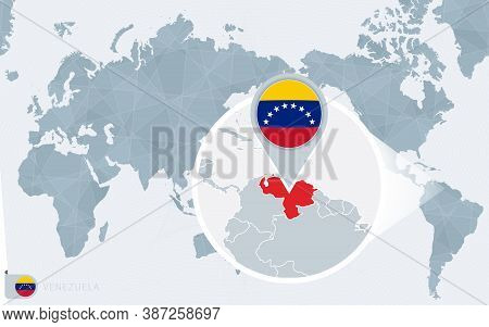 Pacific Centered World Map With Magnified Venezuela. Flag And Map Of Venezuela On Asia In Center Wor