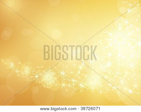 Festive golden background with shiny stars, snow flakes and bokeh lights.