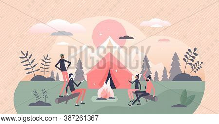 Campfire Or Fireplace Camping Adventure With Friends Tiny Persons Concept. Outdoor Tourism With Over