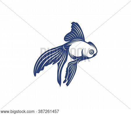 Goldfish Logo Design Vector Template, Goldfish Illustration, Icon Symbol