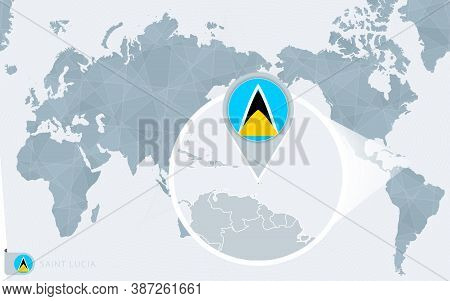 Pacific Centered World Map With Magnified Saint Lucia. Flag And Map Of Saint Lucia On Asia In Center