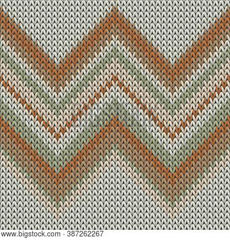 Woolen Zig Zal Lines Knit Texture Geometric Seamless Pattern. Blanket Knit Effect Ornament. Fashiona