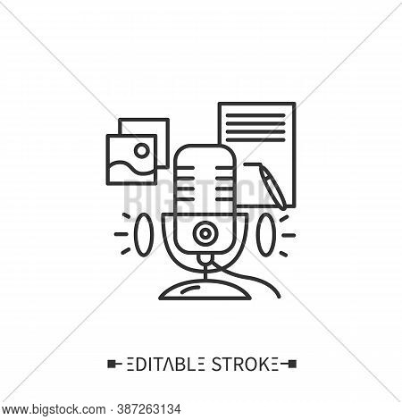 Podcast Script Line Icon. Show Plan, Shownotes, Time Codes, Links And Materials In Description. Inte