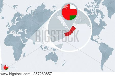 Pacific Centered World Map With Magnified Oman. Flag And Map Of Oman On Asia In Center World Map.