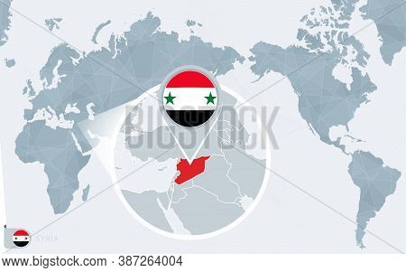Pacific Centered World Map With Magnified Syria. Flag And Map Of Syria On Asia In Center World Map.