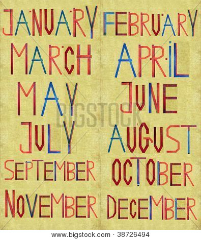 Earthy background and design element depicting the months of the Christian (Gregorian) calendar