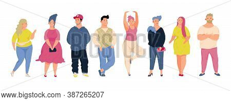 Body Positive Creative Concept. Collection Plus Size, Curvy People. Hand Draw Vector Illustration In