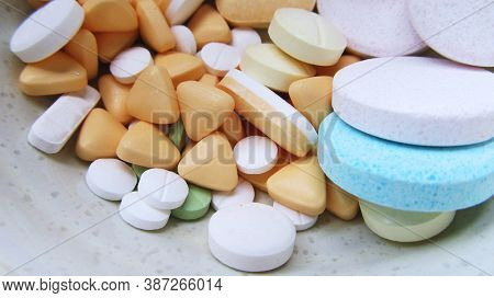Various Medications And Vitamins Capsules.different Types Of Pills.different Colours Of Capsules.pha