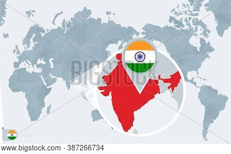 Pacific Centered World Map With Magnified India. Flag And Map Of India On Asia In Center World Map.