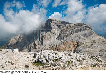 View Of Pale Di San Martino Plateau, Mt Rosetta, 2743 M, With The Cable Car Station Of San Martino D