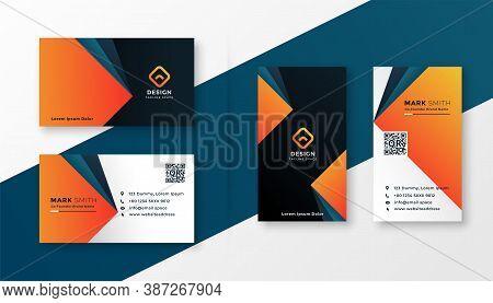 Geometric Modern Business Card Design In Orange Theme