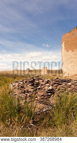 Aicient Stones In The Valley Of The Kings In The Steppe Of Khakassia. The Great Salabyk Mound.