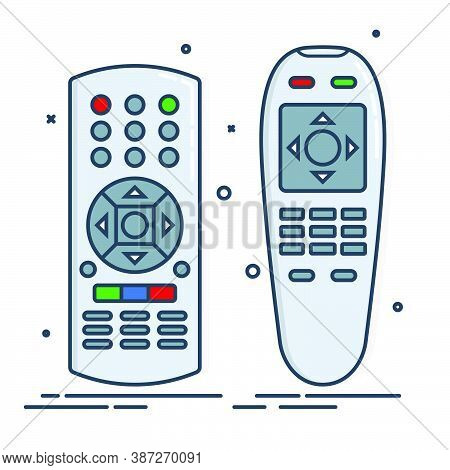 Two Object Hand Remote Control. Multimedia Panel With Shift Buttons. Program Device. Wireless Consol