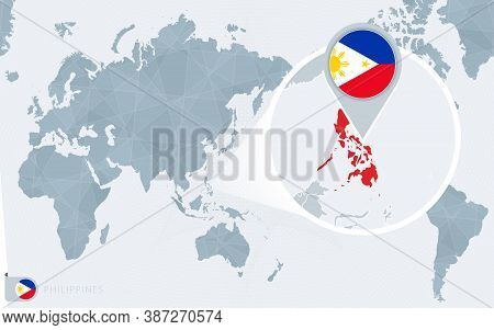 Pacific Centered World Map With Magnified Philippines. Flag And Map Of Philippines On Asia In Center