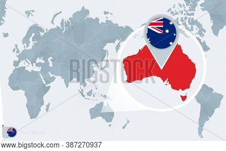 Pacific Centered World Map With Magnified Australia. Flag And Map Of Australia On Asia In Center Wor