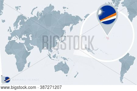 Pacific Centered World Map With Magnified Marshall Islands. Flag And Map Of Marshall Islands On Asia
