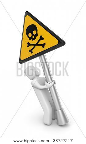 Person with danger skull sign