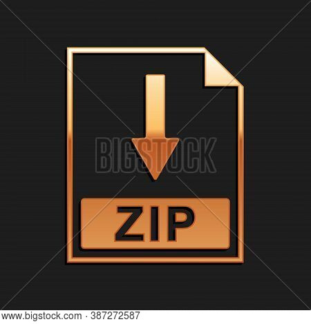 Gold Zip File Document Icon. Download Zip Button Icon Isolated On Black Background. Long Shadow Styl