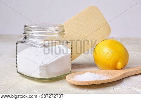 Citric Acid On A Large Wooden Spoon, Sponge, Soda In A Can And Lemon For Eco Cleaning, Non-toxic Det