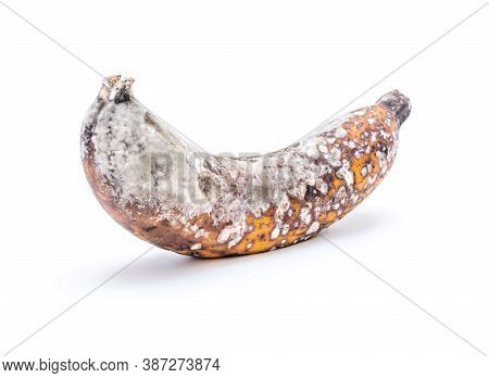 Rootten Banana Isolated On White Background, Banana Tropical Fruit