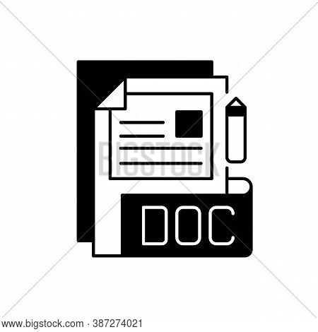 Doc File Black Linear Icon. Document File Format. Word Processing Software. Formatted Text, Images,