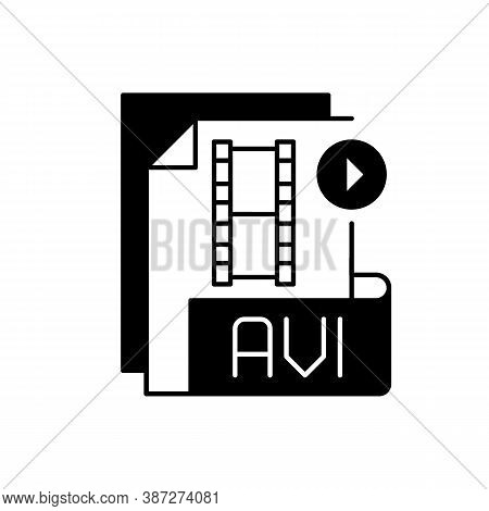Avi File Black Linear Icon. Audio Video Interleave. Filename Extension. Audio And Video Data. Multim