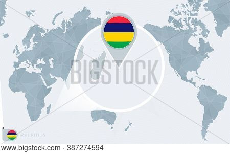 Pacific Centered World Map With Magnified Mauritius. Flag And Map Of Mauritius On Asia In Center Wor