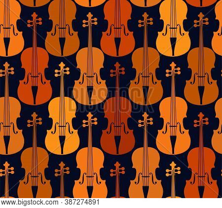 Brown Violins On A Blue Background, Seamless Pattern. Orange And Brown Violins On A Blue Field. Colo