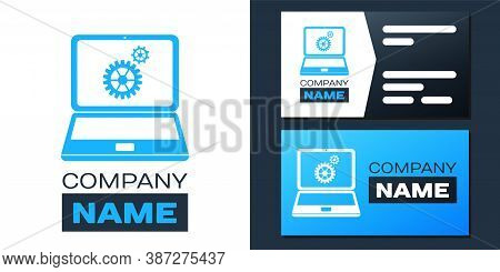 Logotype Laptop And Gears Icon Isolated On White Background. Adjusting App, Service, Setting Options