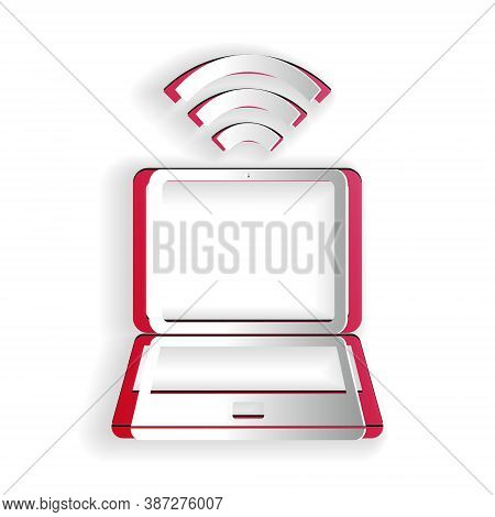 Paper Cut Laptop And Free Wi-fi Wireless Connection Icon Isolated On White Background. Wireless Tech