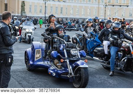 St Petersburg, Russia-september 26, 2020: Palace Square. Motorcyclists On Their  Motorcycles Line Up