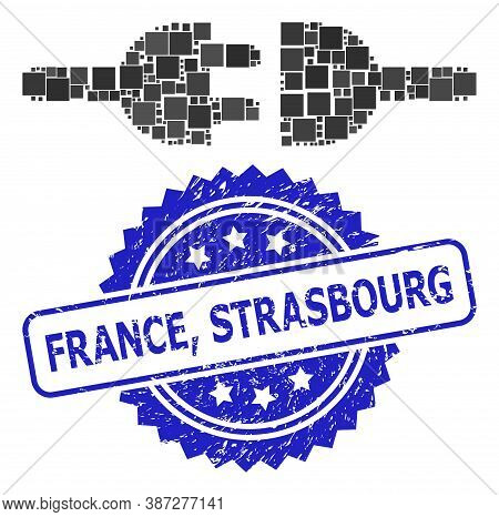 Vector Collage Electric Connection, And France, Strasbourg Corroded Rosette Stamp. Blue Stamp Has Fr