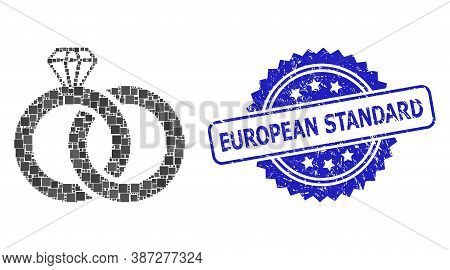 Vector Mosaic Diamond Wedding Rings, And European Standard Rubber Rosette Stamp Seal. Blue Stamp Sea