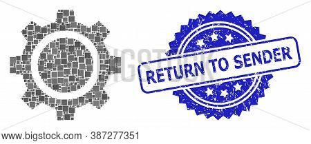 Vector Collage Gear Wheel, And Return To Sender Unclean Rosette Seal. Blue Stamp Seal Contains Retur