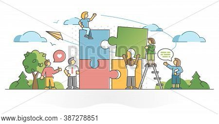 Teamwork Partnership Collaboration Help And Assistance Outline Concept. Effective Company Business C