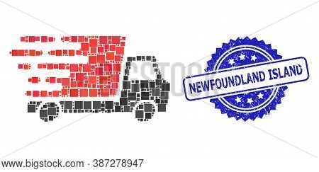 Vector Collage Delivery Car, And Newfoundland Island Scratched Rosette Seal. Blue Stamp Seal Include