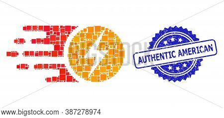 Vector Collage Electric Charge, And Authentic American Textured Rosette Stamp Seal. Blue Seal Contai