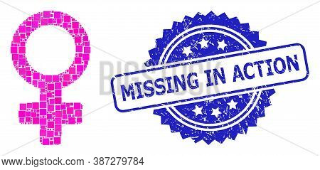 Vector Collage Female Symbol, And Missing In Action Rubber Rosette Seal Imitation. Blue Seal Has Mis