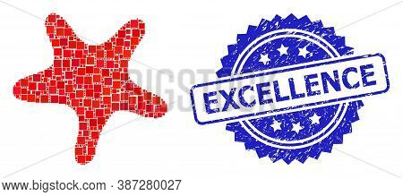Vector Mosaic Bent Star, And Excellence Corroded Rosette Stamp. Blue Stamp Seal Contains Excellence